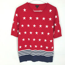 Talbots Sweater Patriotic Stars Stripes Short Sleeve Size Medium Red White Blue