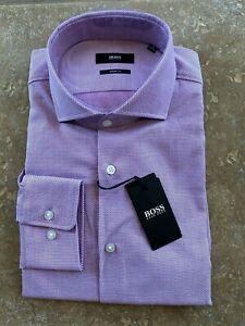 Hugo Boss Black Label Mark Dress Shirt 15 32/33 Sharp Fit Dark Pink Geo NWT $128
