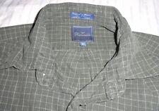 FACONNABLE Dress Shirt Men's MEDIUM M Button-Down GREEN Check Windowpane Cotton
