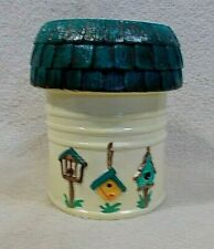 Birdhouse Canister Hand Painted Ceramic Home Decor Utensils Kitchen Flower Pot