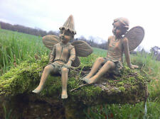 Fairy boy and girl garden, patio ornaments Very Cute. 20cm x 12cm x 16cm. NEW!