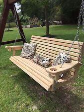 5ft Cypress Porch Swing with Cup Holders Handmade in Louisiana