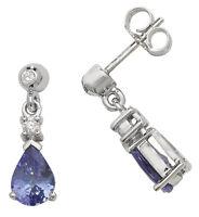 Tanzanite and Diamond Earrings White Gold Drop  Appraisal Certificate