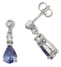Tanzanite and Diamond Earrings White Gold Drop Appraisal Certificate