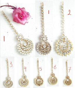 New Bollywood Indian Costume Jewellery Head Piece Kundan Tikka Gold Plated Pearl