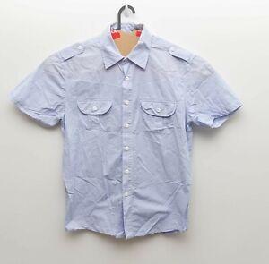 R.M. Williams Classic Fit Men Blue Striped Short Sleeve Button Front Shirt sz L