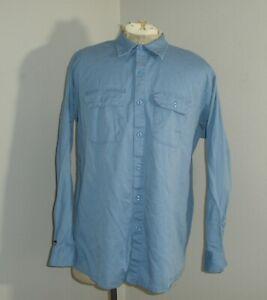 Mens XL BULWARK FR Classic Fire Flame Resistant Long Sleeve Blue Work Shirt USA