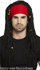 Mens Long Black Dreadlock Bandana Pirate Rasta Fancy Dress Costume Outfit Wig