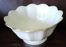 "LENOX LARGE EMBOSSED LEAF 10"" ROUND SERVING BOWL  24K GOLD TRIM @STUNNING@"