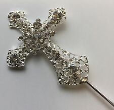 CROSS First Holy Communion CAKE PICK TOPPER SILVER DECORATION DIAMANTE SPARKLY