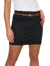 Womens Mini Skirt Stretch Sateen Bodycon Black 10