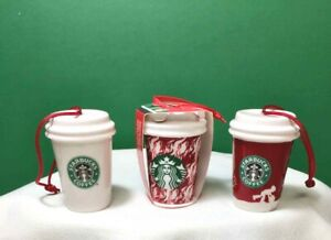 STARBUCKS ORNAMENTS Set of 3 Ceramic MINI TO-GO CUPS 2016/2018 NEW Free Ship