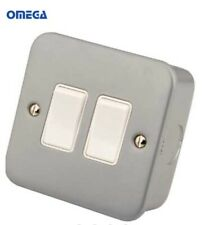 10A 6G 2 Way 230V Metal Clad Electric Wall Plate Switch For Home /& Business
