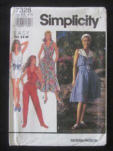 SIMPLICITY PATTERN - 7328 LADIES DRESS BUTTONS JUMPSUIT WING COLLAR 8-16 UNCUT