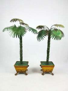 Vintage Hollywood Regency Pair of Petite Choses Tole Metal Potted Palm Trees