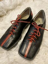 Donald J Pliner Sport Ausif Leather Oxford Black and Red Lace Up Shoes 8N
