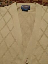 PENDLETON Men's CARDIGAN 100% Cotton Medium BEIGE TEXTURED Vest