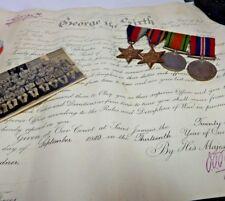 WW2 4 Medal Group & Commision  Lieutenant Kenneth J Gardner RASC -Lancs Fusilier