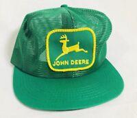 Vintage JOHN DEERE 80s Green Trucker Hat Cap Snapback ALL MESH K-Products USA
