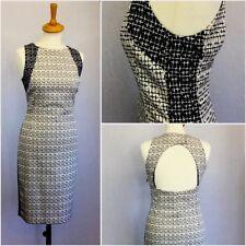Zara Ladies Navy Blue Check Illusion Backless Pencil Shift Dress L UK Size 14