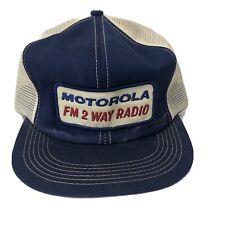 Motorola FM 2 Way Radio Hat Cap Vintage 80s Patch Mesh Trucker Snapback