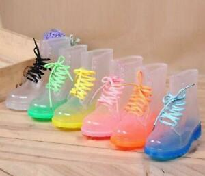 Womens Lace Up Waterproof Ankle Rainboot Boots Girls Jelly Candy Color Hot