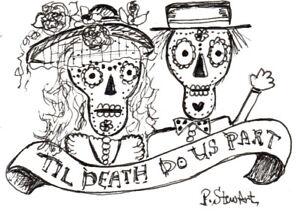 ACEO Bride and Groom wedding skeleton skull death illustration Penny Lee StewArt