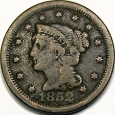 1852 1C BRAIDED HAIR LARGE CENT ~ FINE DETAILS!
