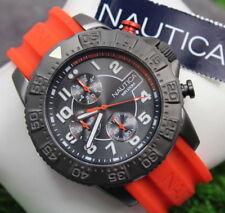 NAUTICA-NSR 104 para hombre de Relojes NAI17514G Correa De Silicona Naranja Deportivo! RRP £ 230