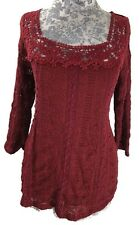 Meadow Rue Anthropologie Blouse Womens Size M Red Peasant Knit Top 3/4 Sleeves