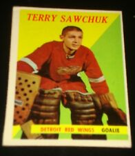 TERRY SAWCHUK1958 Topps #2 Detroit Red Wings, Hockey Card Printed in USA, GOALIE