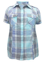 CANDA (C&A) COTTON BLEND PLUS SIZE BLUE CHECK  BLOUSE SHIRT TOP 18-32  FREE P&P