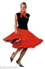 Ladies Rock N Roll 1950s Grease Fancy Dress Skirt Red Lady Costume UK 10 - 14