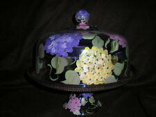HAND PAINTED PINK,PURPLE,YELLOW HYDRANGEA CAKE PLATE/PUNCH BOWL(MADE IN THE USA)