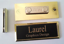 Employee Name Tags Black on Gold Frame w/ magnetic (magnet) attachment 1x3