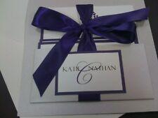 Handmade pocket wedding Invitations silver and purple