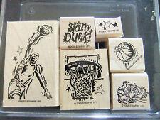 Stampin Up ~ Slam Dunk ~ Basketball Ball Net Hoop Rubber Stamp Set