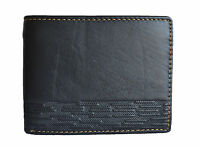 MEN BLACK GENUINE LEATHER EMBOSSED ID BIFOLD SMALL HIPSTER CASUAL JEANS WALLET