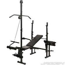 Multi Gym Weight Bench Pull Down Arm Leg Curl Strength Training Folding Station
