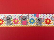KOALA FLOWER HEART Grosgrain Ribbon 25mm X 1MTR Australian Seller