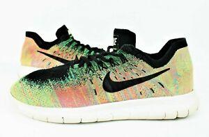 Nike Men's Free RN Flyknit 2017 Running Shoe 880843 005 Multi-Color/Blk Sz 11.5