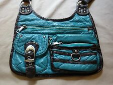 Turquoise & Black Leather Hand Crafted Small Shoulder/Cross Body Bag