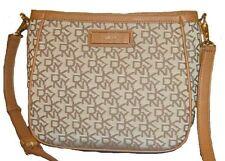 DKNY Donna Karan Crossbody Shoulder Bag $225 T & C PU Logo Chino-Tan New NWT