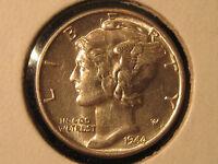 1944 Mercury Dime Uncirculated 10c -  90% Silver