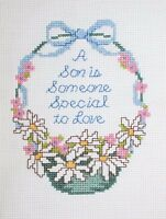 A Son Easter Basket Cross Stitch Completed Finished Unframed