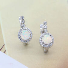 Hoop Earrings with White Fire Opal&Cubic Zirconia 18k Gold Plated Jewelry