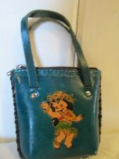 Vintage Hawaii Souvenir Purse Hand Tooled Tied Leather Coin Hula Baby Turquoise