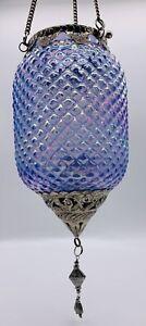 Hanging Glass Metal Moroccan Style Lantern Tealight Candle Holder Iridescence