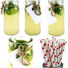 Da Cocktail Jar x12 + Cannucce x25 Bicchiere Da Cocktail Festa Matrimonio