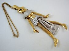 Vintage 1970's Signed POLCINI Egyptian Goddess Articulated Pendant Necklace